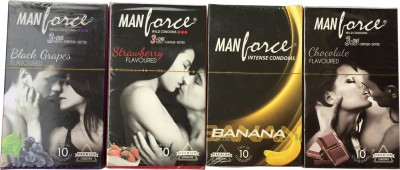 Manforce Banana Strawberry Choclate and Black Grape Condoms (40 Condoms)