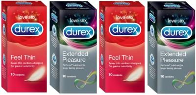 Durex Feel Thin, Extended Pleasure Condom(Set of 4, 40S)