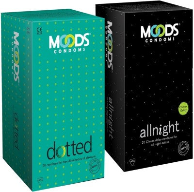 Moods Allnight and Dotted Combo Condoms (40 Condoms)