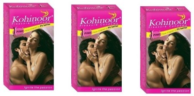 Kohinoor Pink Condoms (Pack of 3, 30 Condoms)