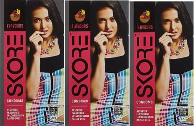 Skore Assorted Flavours Condoms (20 Condoms) - Pack of 3