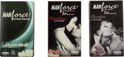 Manforce Chocolate Strawberry Jasmine Condoms (30 Condoms) - Pack of 3