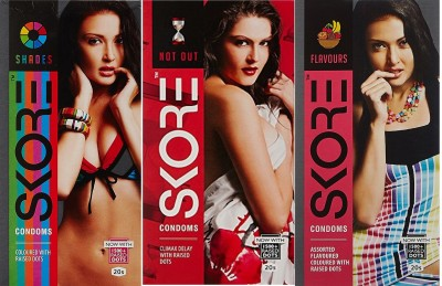 Skore Combo of Shades Not Out And Flavours Condoms (20 Condoms)