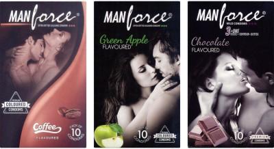 Manforce Coffee Green Apple and Chocolate Condoms (30 Condoms)