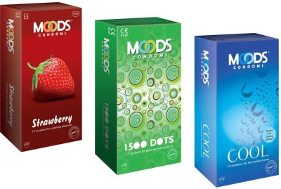 Moods Strawberry, Dots and Cool Condoms (36 Condoms)