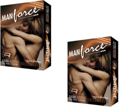 Manforce Extra Dotted Chocolate Condoms (10 Condoms) - Pack of 2