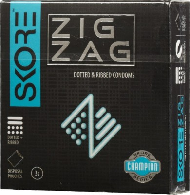 Skore Skore Champion Zig Zag Condoms 3's (Pack of 3) Condom(Set of 3, 9S)  available at flipkart for Rs.120