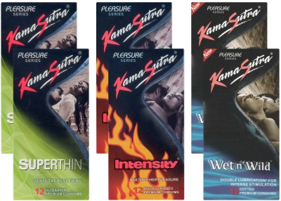 KamaSutra Superthin, Intensity, Wet n Wild - UPFK200085 Condom(Set of 6, 72S) at flipkart
