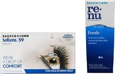 Bausch & Lomb Soflens 59 SL59 With Renu Fresh Solution 120 ml Monthly Contact Lens(-4, Transparent, Pack of 6)
