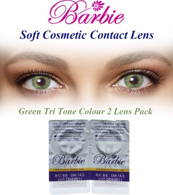 Barbie Tri Tone Green Zero Power By Visions India Monthly Contact Lens(Green-0.00, Green, Pack of 2)