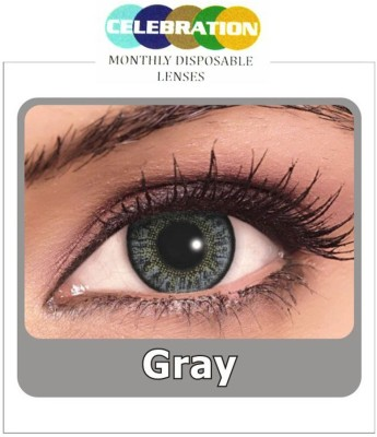 Celebration Grey Monthly Contact Lens(Zero Power, Grey, Pack of 2)