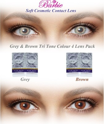 Barbie Tri Tone 0.00 Power By Visions India Monthly Contact Lens(GreyBrown-0.00, Grey & Brown, Pack of 4)