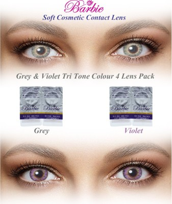 Barbie Tri Tone Zero Power By Visions India Monthly(GreyViolet-0.00, Colored Contact Lenses, Pack of 4)