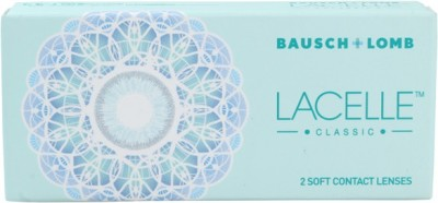 Bausch & Lomb Lacelle Classic Blue With Lens Case By Lens4Eye Monthly(-2.00, Colored Contact Lenses, Pack of 2)