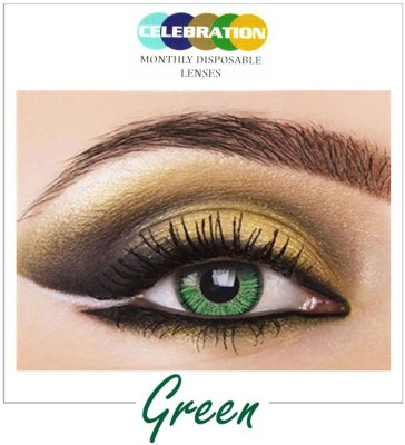 Celebration Green Monthly Contact Lens(Zero Power, Green, Pack of 2)