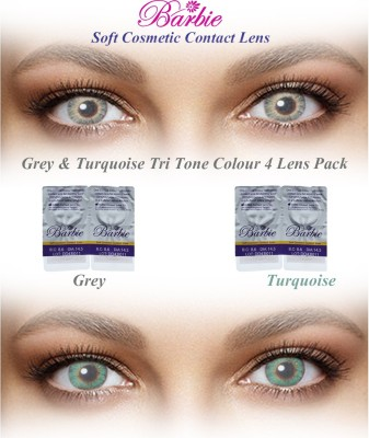 Barbie Tri Tone Zero Power By Visions India Monthly Contact Lens(GreyTurquoise-0.00, Grey & Turquoise, Pack of 4)