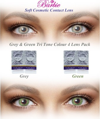 Barbie Tri Tone 0.00 Power By Visions India Monthly Contact Lens(GreyGreen-0.00, Grey & Green, Pack of 4)