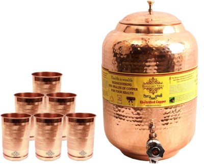 IndianArtVilla 1 Copper Water Pot 5.5 Liter with 6 Copper Glass  - 7300 ml Copper Multi-purpose Storage Container(Pack of 7, Brown) at flipkart