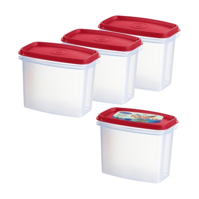 Primeway Food Savers Modular Canisters  - 1 L Plastic Food Storage(Pack of 4, Red) at flipkart