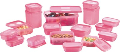 MasterCook  - 200 ml, 330 ml, 1630 ml, 150 ml, 500 ml, 700 ml Polypropylene Multi-purpose Storage Container(Pack of 17, Pink) at flipkart