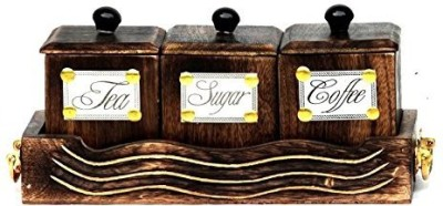 Kalaplanet Antique design   3 dozen Wooden Tea Coffee   Sugar Container Pack of 4, Brown Kalaplanet Kitchen Containers