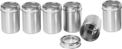 Dynore Set of 6 top see through canisters  - 3000 ml Steel Multi-purpose Storage Container(Pack of 6, Steel)