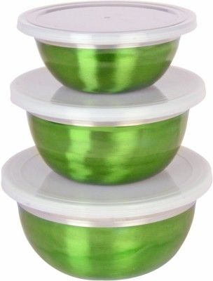 birdy 3pcs Storage set  - 3100 ml Steel Food Storage(Pack of 3, Green) at flipkart