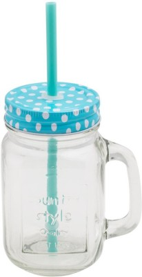 roxx mason blue Glass Mug(450 ml, Pack of 2) at flipkart