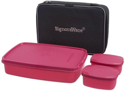 Signoraware Compact Lunch Box with Bag   1050 ml Plastic Grocery Container Pack of 3, Pink