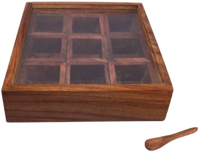 Craftsman Masala Box /Dabba/Hand Crafted with Lid  - 1.5 L Wooden Spice Container(Brown)  available at flipkart for Rs.469