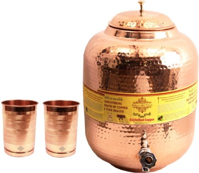 IndianArtVilla 1 Copper Water Pot 11.5 Liter with 2 Copper Glass  - 12100 ml Copper Grocery Container(Pack of 3, Brown) at flipkart