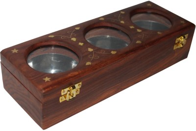 Indoart Dry Fruit/Masala Box  - 42.875 ml Wooden Food Storage(Multicolor) at flipkart