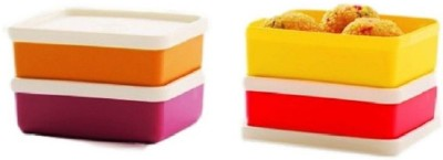 Tupperware Mini Square Away box, Pack of 4   140 ml Polypropylene Grocery Container Pack of 4, Multicolor