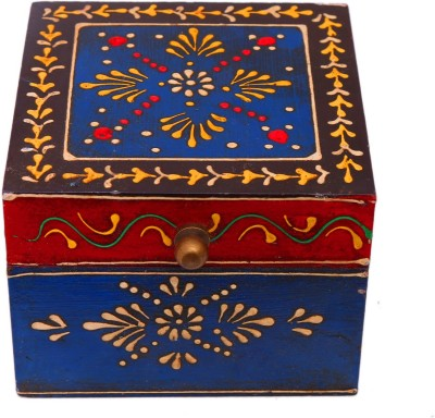 Indikala Ethnic Multipurpose Box( 4 X 4 Inches)  - 500 ml Wooden Multi-purpose Storage Container(Multicolor) at flipkart