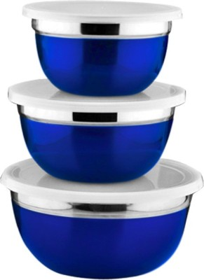 birdy 3pcs Storage set  - 3100 ml Steel Food Storage(Pack of 3, Blue) at flipkart