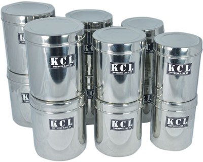 KCL Deep Dabba Container 12pc  - 1200 L, 1200 L, 1200 L, 1200 L, 1500 L, 1500 L, 1500 L, 1500 L, 1750 L, 1750 L, 1750 L, 1750 L Steel Food Storage(Pack of 12, Silver) at flipkart