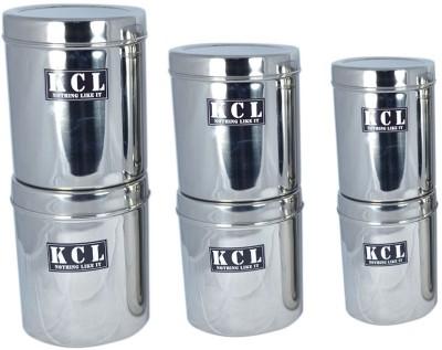 KCL 6 Storage Containers  - 1300 ml, 1500 ml, 1800 ml, 1300 ml, 1500 ml, 1800 ml Steel Food Storage(Pack of 6, Steel) at flipkart