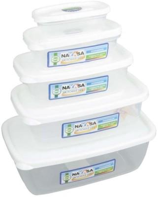 Nayasa Gold Dust Airtight  - 1800 ml, 1100 ml, 680 ml, 300 ml, 150 ml Polypropylene Multi-purpose Storage Container(Pack of 5, White, Clear) at flipkart