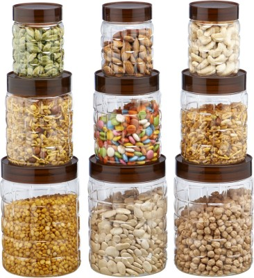 Steelo Steelo 9 pcs PET Container Set - 300ml x 3, 600ml x 3, 1200ml x 3 (Solitaire)  - 300 ml, 600 ml, 1200 ml Plastic Food Storage(Pack of 9, Clear) at flipkart