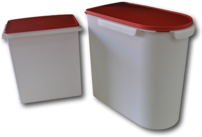 Tupperware Multikeeper and Rice Keeper  - 24 L, 10 L Plastic Grocery Container(Pack of 2, White, Red)  available at flipkart for Rs.2600