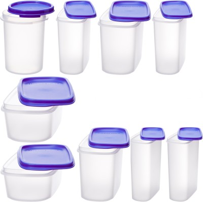 Tupperware Get Smart Saver Oval  - 2300 ml, 1700 ml, 1700 ml, 1100 ml, 1100 ml, 440 ml, 440 ml, 440 ml, 440 ml Plastic Grocery Container(Pack of 9, Blue, White)