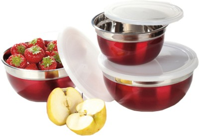 Ideale Kitchen - Preparation and Store  - 1000 ml, 600 ml, 1500 ml Steel Food Storage(Pack of 3, Red) at flipkart