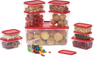 All Time Polka  - 5300 ml Plastic Multi-purpose Storage Container(Pack of 11, Red) at flipkart