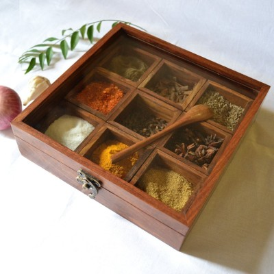 Craft Art India Masala Box /Dabba/Hand Crafted With Lid 1 Piece Spice Set Wooden Craft Art India Condiment Sets