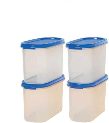 Tupperware Oval 1.1l  - 1.1 L Plastic Multi-purpose Storage Container(Pack of 4, White, Blue) at flipkart