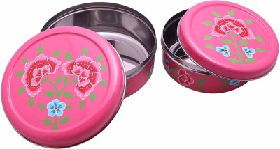 The Crazy Me Handpainted Kitchen Boxes  - 1000 ml Steel Food Storage(Pack of 2, Pink) at flipkart