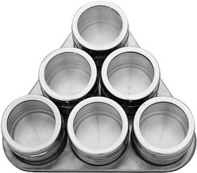 Connectwide Magnetic Spice Rack 6 Tins With Magnetic Triangular Shape Surface Material Stainless Steel   500 ml Glass, Steel Spice Container