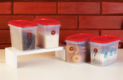 Tupperware Canister  - 800 ml Plastic Food Storage(Pack of 4, Red) at flipkart