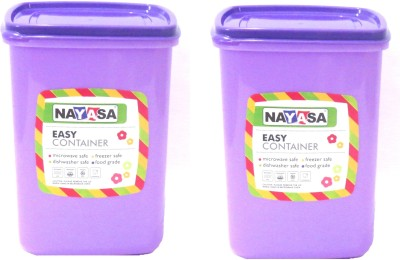 NAYASA Easy Jar   2000 ml Plastic Grocery Container Pack of 2, Purple NAYASA Kitchen Containers