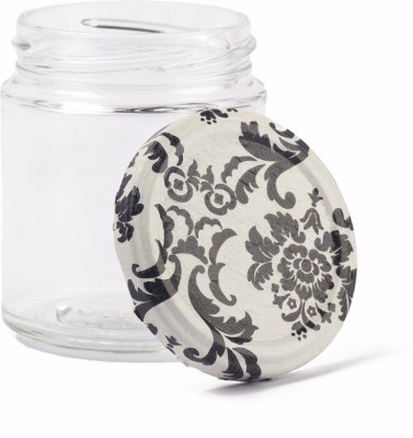 IAM B W Damask   200 ml Glass Grocery Container Black IAM Kitchen Containers